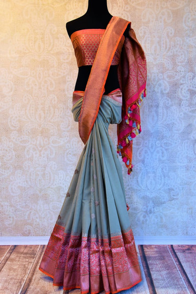 Buy grey linen Banarasi saree online in USA with zari border. Pure Elegance fashion store brings a stunning range of Indian designer wedding saris in USA for women.-full view