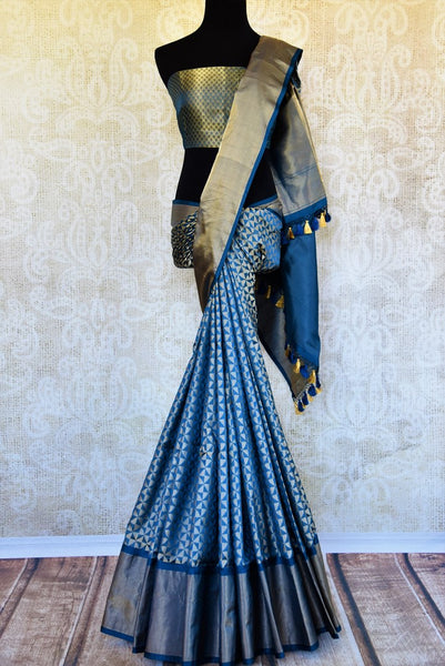 Buy beautiful blue Banarasi silk saree online in USA. Pure Elegance clothing store brings an exquisite variety of Indian Banarasi silk sarees for weddings in USA.-full view