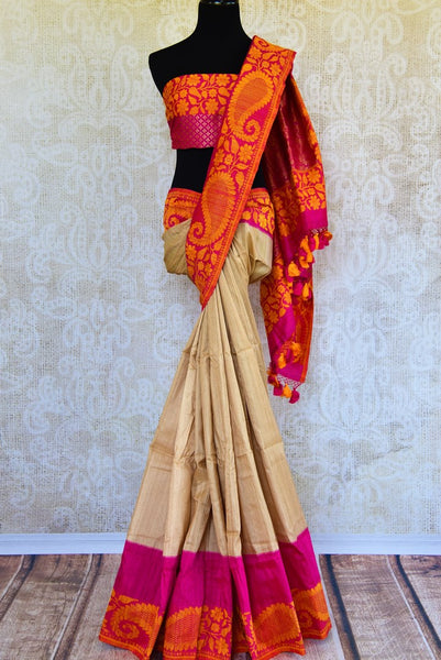 Buy beige tussar Banarasi saree online in USA. Pure Elegance fashion store brings an exclusively curated range of Indian woven sarees for weddings and festivals in USA-full view