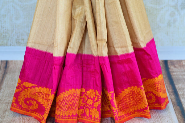 Buy beige tussar Banarasi saree online in USA. Pure Elegance fashion store brings an exclusively curated range of Indian woven sarees for weddings and festivals in USA-pleats
