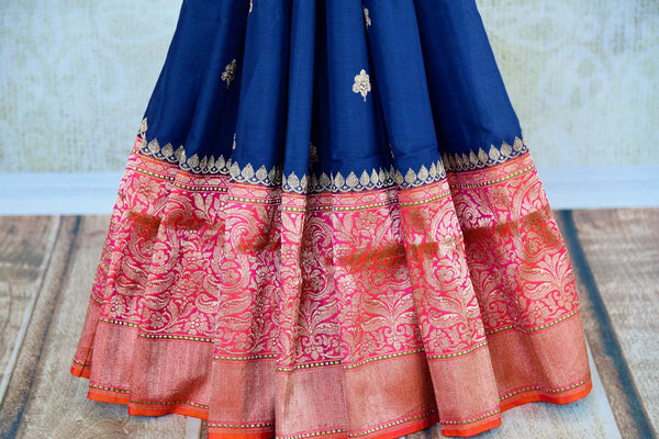 Buy blue linen Banarasi saree online in USA with zari border. Pure Elegance fashion store brings you exquisite range of Indian Banarasi sarees in USA for weddings.-pleats