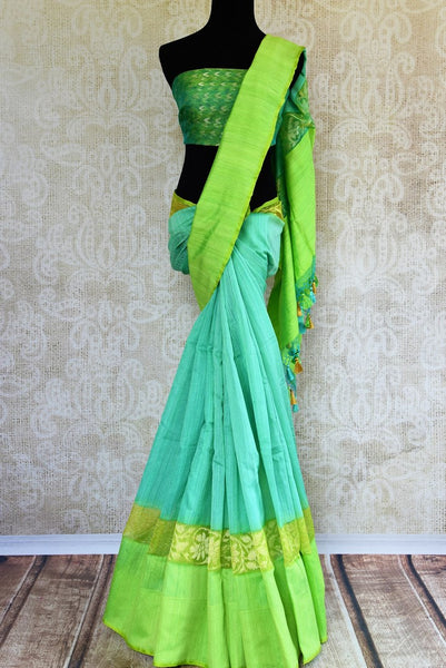 Buy light blue jute Benarasi saree online in USA. Pure Elegance clothing store brings an exquisite collection of beautiful Indian designer saris in USA for weddings.-full view