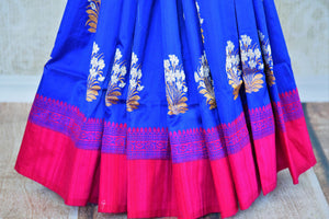 Buy cream and blue tussar silk Benarasi silk saree online in USA. Pure Elegance clothing store brings exquisite range of Indian Benarasi sarees for online shopping in USA.-pleats