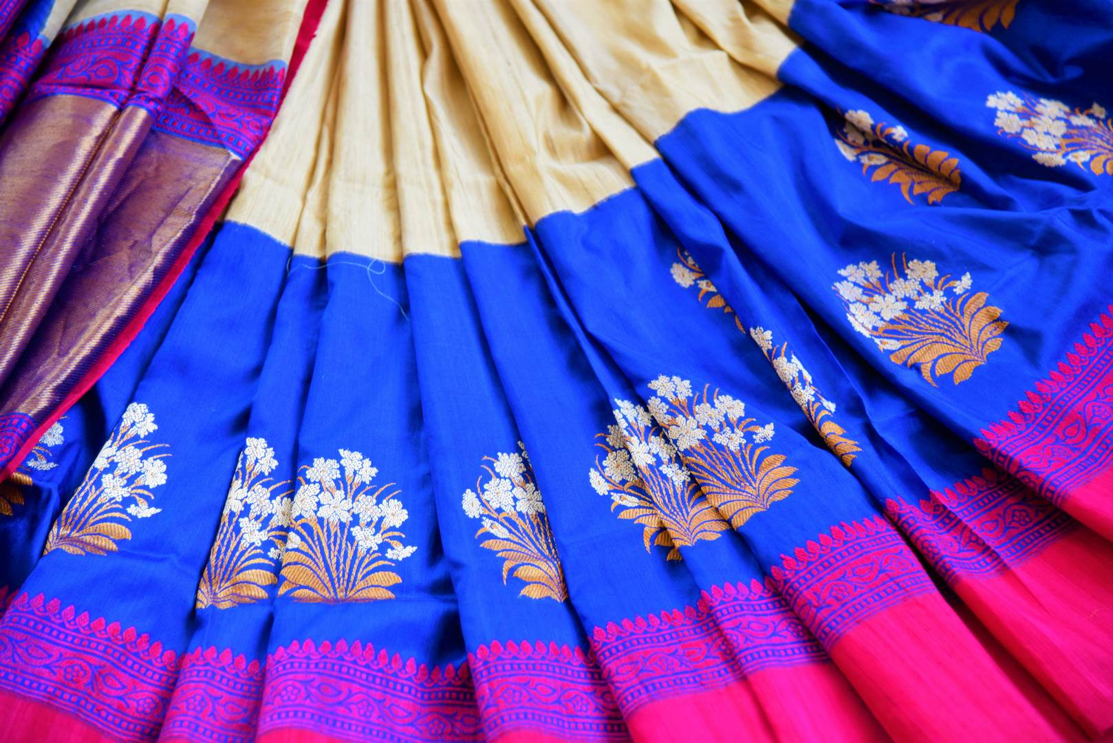 Buy cream and blue tussar silk Benarasi silk saree online in USA. Pure Elegance clothing store brings exquisite range of Indian Benarasi sarees for online shopping in USA.-details