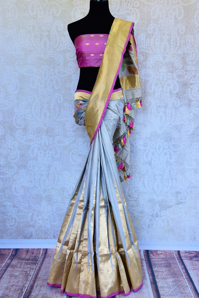 Buy grey tussar silk Banarasi saree online in USA. Pure Elegance fashion store brings an exclusively curated range of designer Indian sarees for weddings in USA. Shop now.-full view
