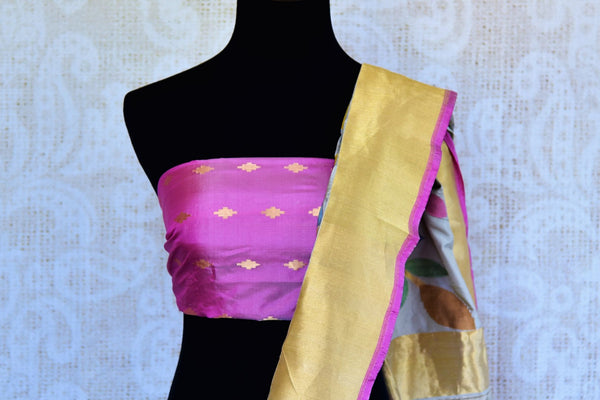 Buy grey tussar silk Banarasi saree online in USA. Pure Elegance fashion store brings an exclusively curated range of designer Indian sarees for weddings in USA. Shop now.-blouse pallu