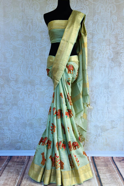 Buy light green embroidered linen saree online in USA. Pure Elegance fashion store brings an exclusively curated range of Indian designer sarees in USA for various occasions,-full view