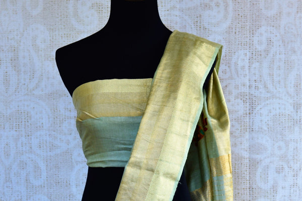 Buy light green embroidered linen saree online in USA. Pure Elegance fashion store brings an exclusively curated range of Indian designer sarees in USA for various occasions,-blouse pallu