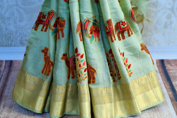 Buy light green embroidered linen saree online in USA. Pure Elegance fashion store brings an exclusively curated range of Indian designer sarees in USA for various occasions,-pleats