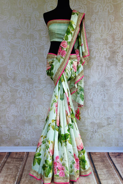 Buy pastel green embroidered matka silk saree online in USA. Pure Elegance fashion store brings an exclusively curated range of Indian silk sarees for weddings in USA for women.-full view