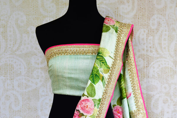Buy pastel green embroidered matka silk saree online in USA. Pure Elegance fashion store brings an exclusively curated range of Indian silk sarees for weddings in USA for women.-blouse pallu