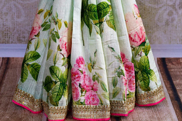 Buy pastel green embroidered matka silk saree online in USA. Pure Elegance fashion store brings an exclusively curated range of Indian silk sarees for weddings in USA for women.-pleats