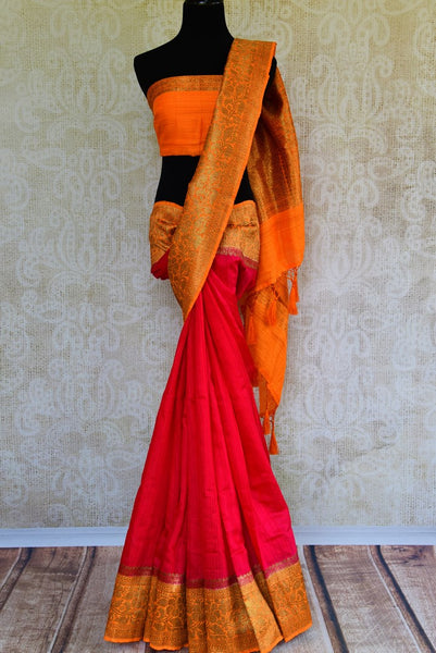 Buy pink matka Banarasi saree with zari border online in USA. Pure Elegance fashion store brings exquisite collection of traditional Indian Matka saris in USA.-full view