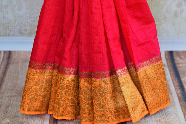 Buy pink matka Banarasi saree with zari border online in USA. Pure Elegance fashion store brings exquisite collection of traditional Indian Matka saris in USA.-pleats