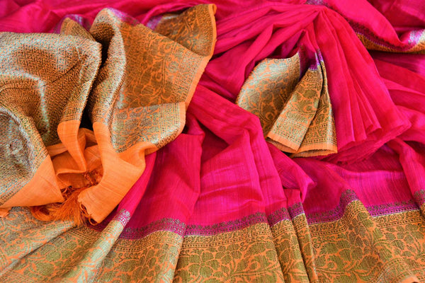 Buy pink matka Banarasi saree with zari border online in USA. Pure Elegance fashion store brings exquisite collection of traditional Indian Matka saris in USA.-details