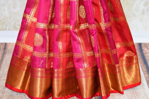 Buy dark pink tussar Banarasi saree with checker pattern online in USA. Pure Elegance fashion store brings a stunning range of Indian designer sarees for weddings.-pleats