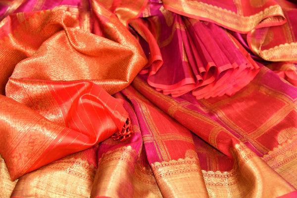 Buy dark pink tussar Banarasi saree with checker pattern online in USA. Pure Elegance fashion store brings a stunning range of Indian designer sarees for weddings.-details