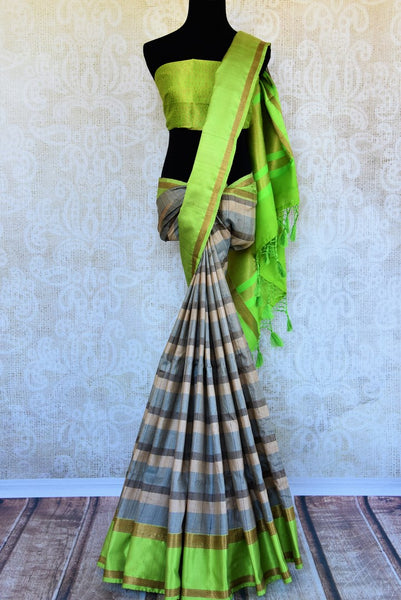 Buy blue and green striped tussar Banarasi sari online in USA. Pure Elegance clothing store brings an exquisite variety of Indian Banarasi sarees in USA. Shop online.-full view