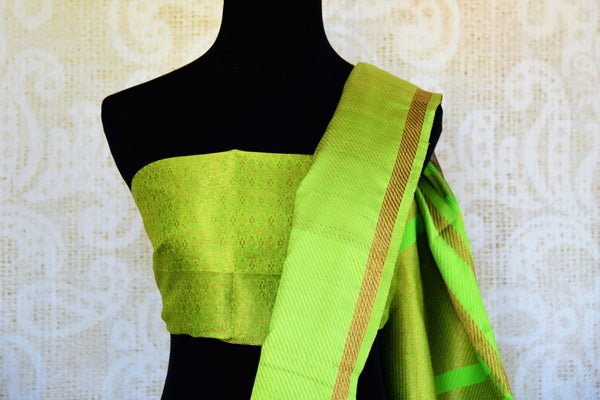 Buy blue and green striped tussar Banarasi sari online in USA. Pure Elegance clothing store brings an exquisite variety of Indian Banarasi sarees in USA. Shop online.-blouse pallu