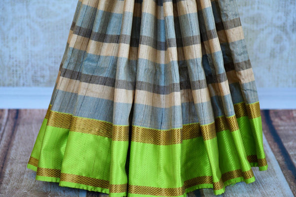 Buy blue and green striped tussar Banarasi sari online in USA. Pure Elegance clothing store brings an exquisite variety of Indian Banarasi sarees in USA. Shop online.-pleats