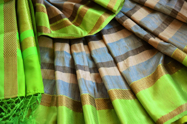 Buy blue and green striped tussar Banarasi sari online in USA. Pure Elegance clothing store brings an exquisite variety of Indian Banarasi sarees in USA. Shop online.-details