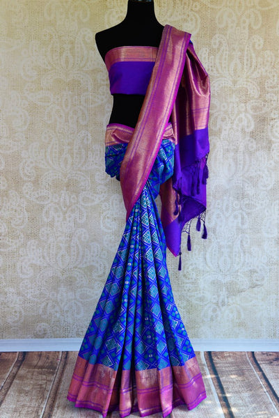 Buy blue tassar matka Banarasi saree with zari border online in USA. Pure Elegance fashion store brings a stunning collection of traditional Indian sarees in USA.-full view