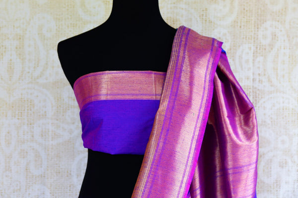 Buy blue tassar matka Banarasi saree with zari border online in USA. Pure Elegance fashion store brings a stunning collection of traditional Indian sarees in USA.-blouse pallu