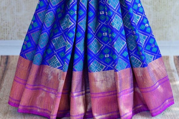 Buy blue tassar matka Banarasi saree with zari border online in USA. Pure Elegance fashion store brings a stunning collection of traditional Indian sarees in USA.-pleats
