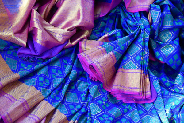 Buy blue tassar matka Banarasi saree with zari border online in USA. Pure Elegance fashion store brings a stunning collection of traditional Indian sarees in USA.-details