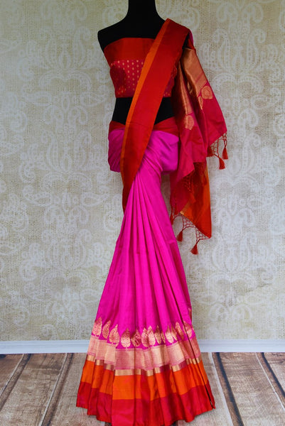 Buy bright pink Banarasi silk saree online in USA. Pure Elegance fashion store brings an exquisite collection of Indian designer sarees in USA for weddings and festivals.-full view