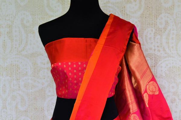 Buy bright pink Banarasi silk saree online in USA. Pure Elegance fashion store brings an exquisite collection of Indian designer sarees in USA for weddings and festivals.-blouse pallu