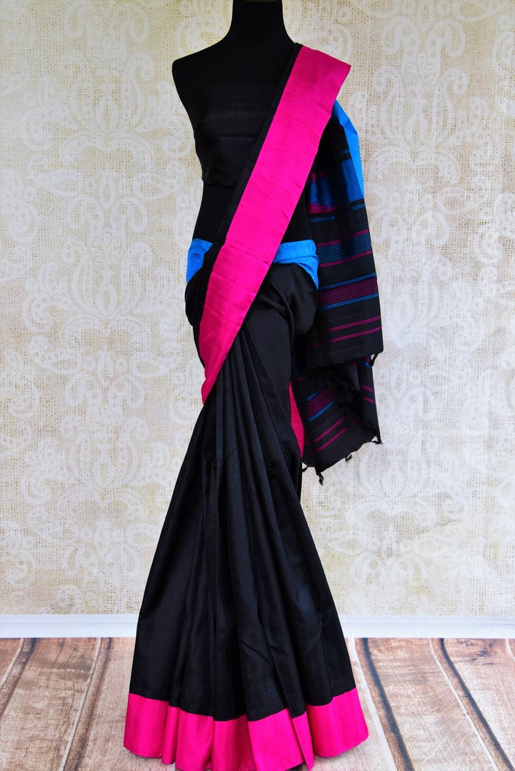 Buy plain black kanchipuram silk saree online in USA. Pure Elegance clothing store brings an exquisite variety of Indian South silk sarees for weddings in USA. Shop online.-full view