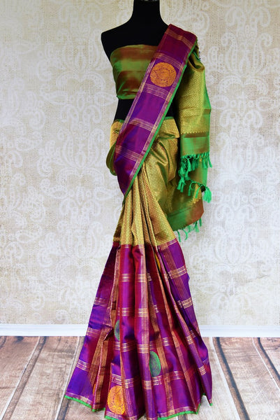 Buy green and purple Kanchipuram silk saree online in USA. Choose from an exquisite range of Indian Kanjeevaram sarees at Pure Elegance fashion store in USA or shop online.-full view