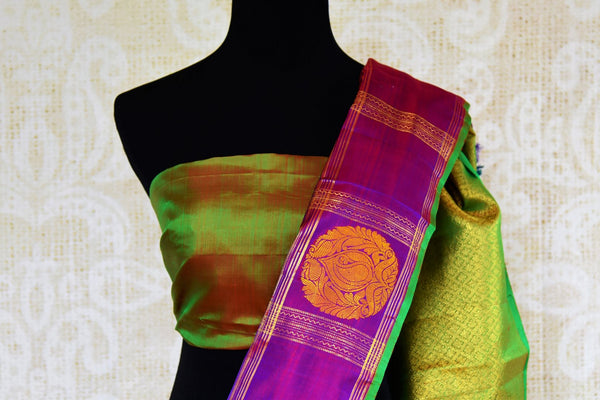 Buy green and purple Kanchipuram silk saree online in USA. Choose from an exquisite range of Indian Kanjeevaram sarees at Pure Elegance fashion store in USA or shop online.-blouse pallu