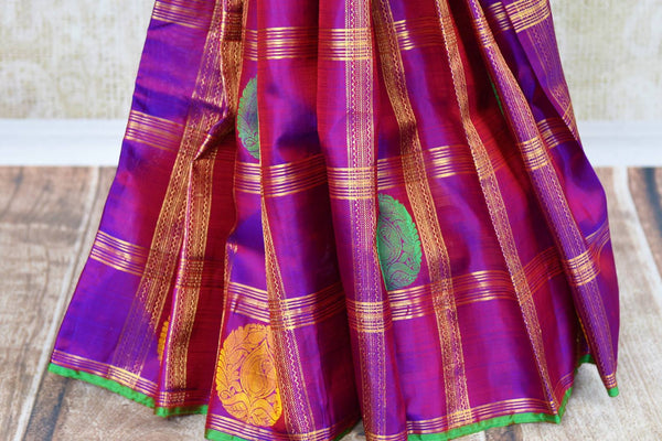 Buy green and purple Kanchipuram silk saree online in USA. Choose from an exquisite range of Indian Kanjeevaram sarees at Pure Elegance fashion store in USA or shop online.-pleats