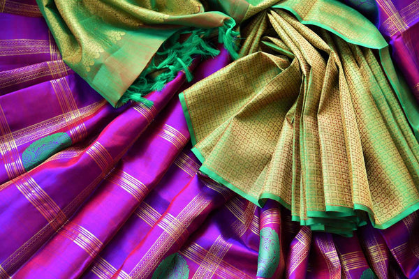Buy green and purple Kanchipuram silk saree online in USA. Choose from an exquisite range of Indian Kanjeevaram sarees at Pure Elegance fashion store in USA or shop online.-details