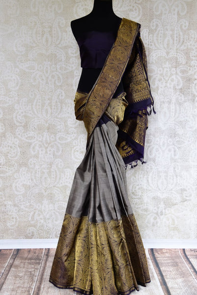 Buy grey kanchipuram silk saree with zari border online in USA. Pure Elegance clothing store brings an exquisite variety of Indian Kanchipuram silk sarees in USA. Shop online.-full view