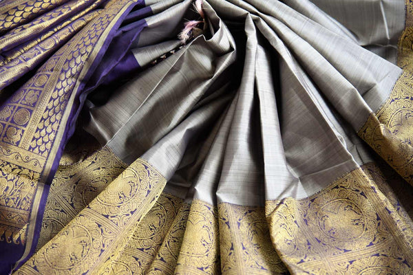 Buy grey kanchipuram silk saree with zari border online in USA. Pure Elegance clothing store brings an exquisite variety of Indian Kanchipuram silk sarees in USA. Shop online.-details