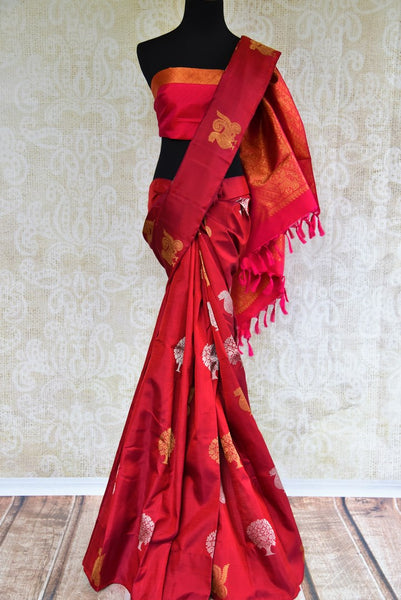 Maroon Kanchipuram silk saree for online shopping in USA. Pure Elegance clothing store brings an exquisite variety of Indian Kanchipuram silk sarees for weddings in USA. -full view