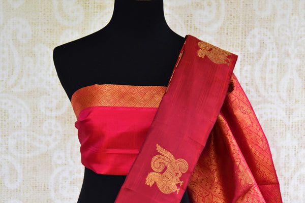 Maroon Kanchipuram silk saree for online shopping in USA. Pure Elegance clothing store brings an exquisite variety of Indian Kanchipuram silk sarees for weddings in USA. -blouse pallu