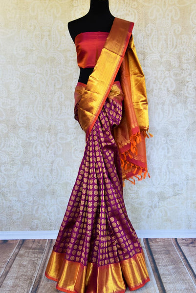 Buy purple Kanjivaram silk sari online in USA. Pure Elegance clothing store brings an exquisite range of Indian Kanchipuram silk sarees in USA for weddings and parties.-full view
