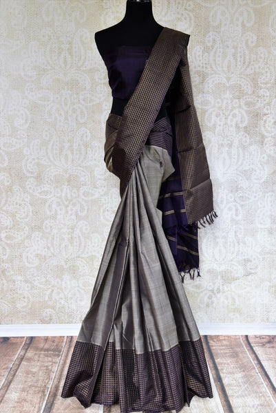 Grey Kanjeevaram silk sari with checker border for online shopping in USA. Pure Elegance clothing store brings an exquisite variety of Indian silk sarees in USA.-full view