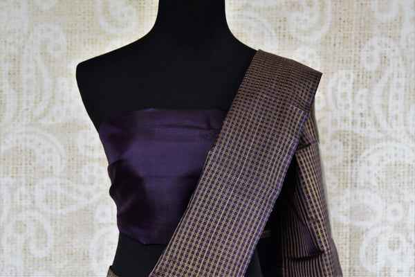 Grey Kanjeevaram silk sari with checker border for online shopping in USA. Pure Elegance clothing store brings an exquisite variety of Indian silk sarees in USA.-blouse pallu