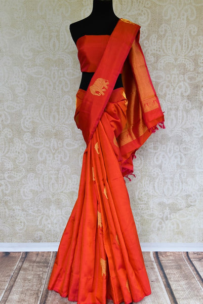 Buy orange Kanjeevaram silk saree with zari buta online in USA. Choose from an alluring range of Indian Kanchipuram sarees at Pure Elegance fashion store in USA.-full view