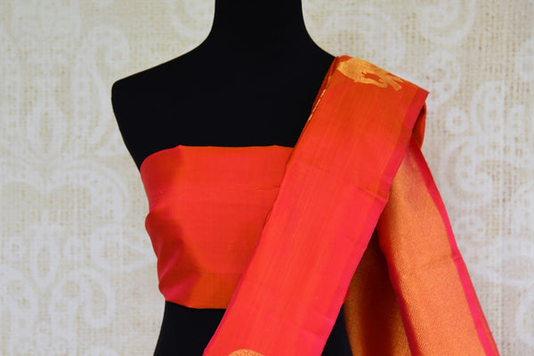 Buy orange Kanjeevaram silk saree with zari buta online in USA. Choose from an alluring range of Indian Kanchipuram sarees at Pure Elegance fashion store in USA.-blouse pallu