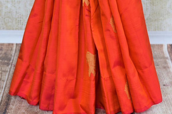 Buy orange Kanjeevaram silk saree with zari buta online in USA. Choose from an alluring range of Indian Kanchipuram sarees at Pure Elegance fashion store in USA.-pleats