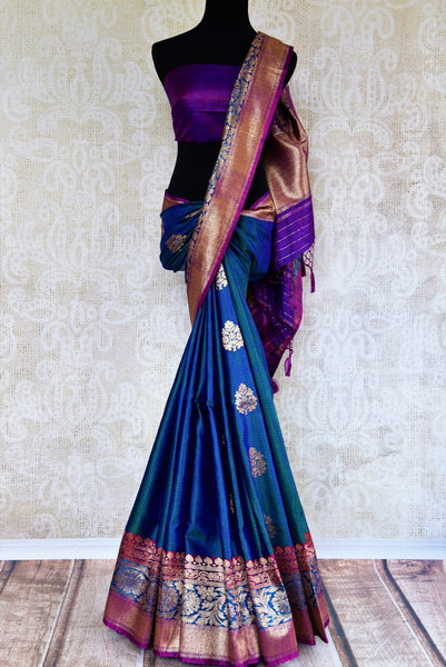 Buy beautiful blue tussar Banarasi sari online in USA. Pure Elegance clothing store brings an exquisite collection of Indian wedding sarees in USA for women. Shop online.-full view