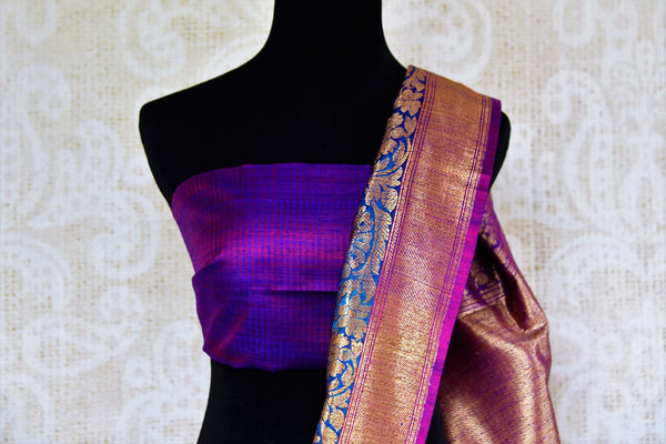 Buy beautiful blue tussar Banarasi sari online in USA. Pure Elegance clothing store brings an exquisite collection of Indian wedding sarees in USA for women. Shop online.-blouse pallu