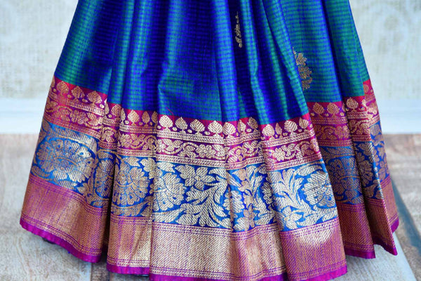 Buy beautiful blue tussar Banarasi sari online in USA. Pure Elegance clothing store brings an exquisite collection of Indian wedding sarees in USA for women. Shop online.-pleats