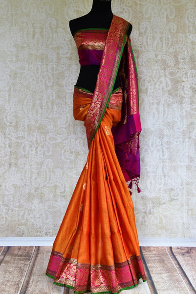 Buy ethnic orange tussar Banarasi saree online in USA. Pure Elegance clothing store brings an exquisite collection of Indian woven sarees in USA for women. Shop online.-full view